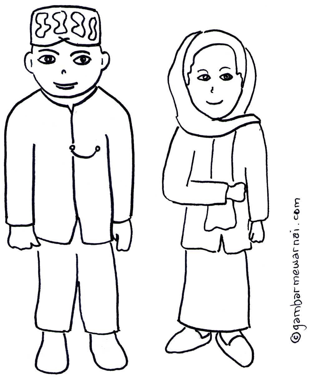 Mewarnai Pakaian Adat : mewarnai, pakaian, Gambar, Mewarnai, Pakaian, Betawi, Kartun,, Gambar,, Kartun