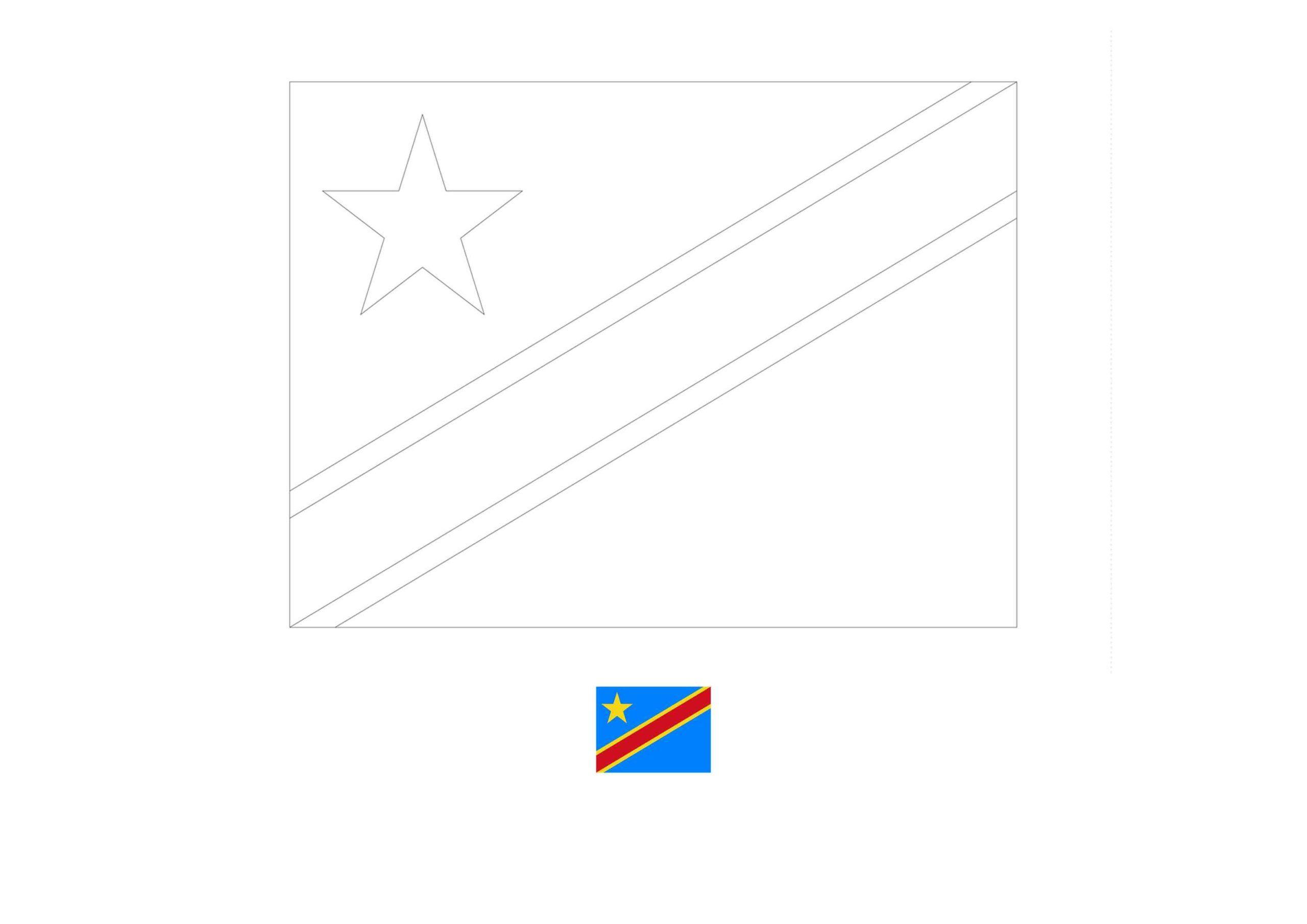 Congo Kinshasa Flag Coloring Page Flag Coloring Pages Coloring