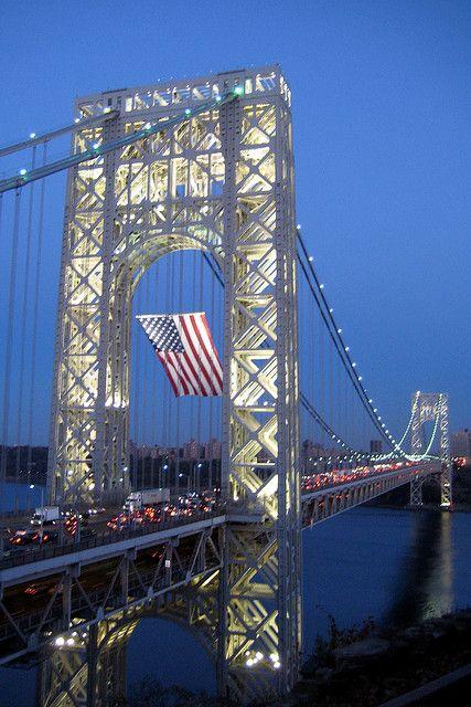 NJ - Fort Lee: George Washington Bridge at night by wallyg, via Flickr