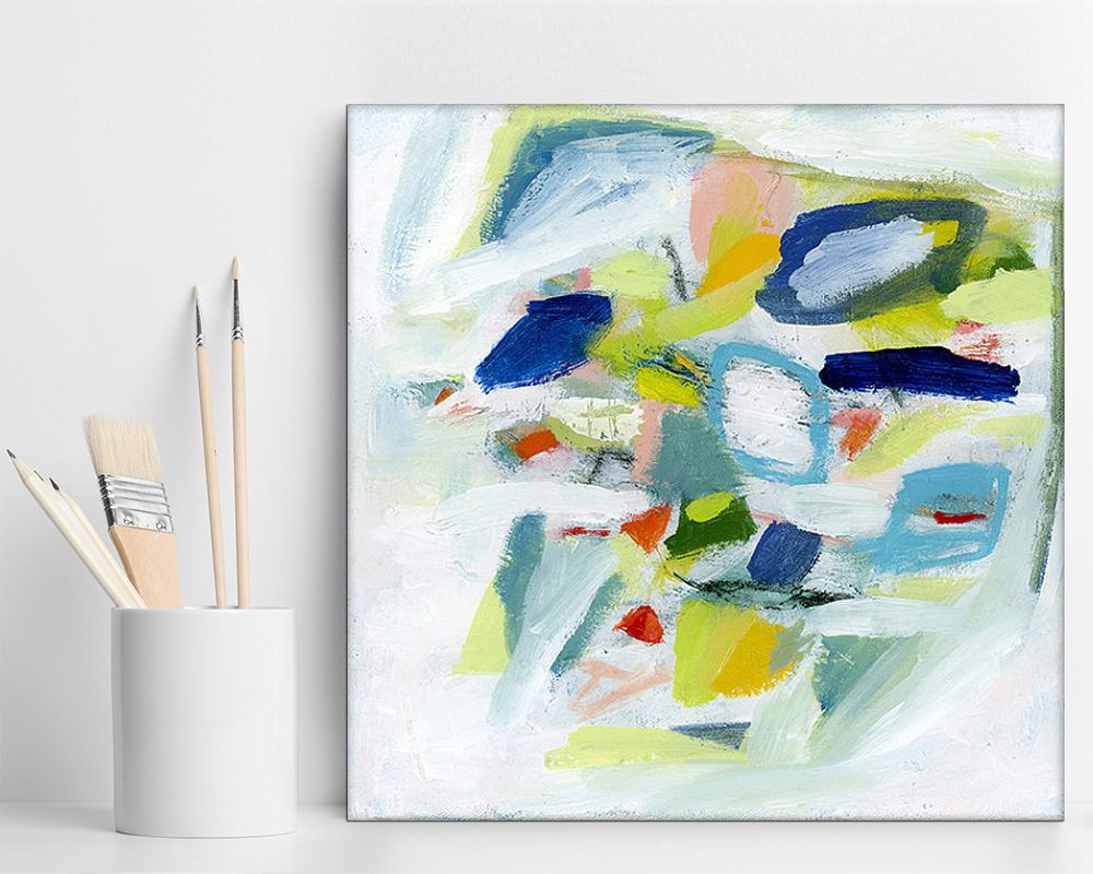 Abstract Office Art ABSTRACT PAINTING Original 16x16 Pink Aqua Office Decor  Women Dreamy 1st Anniversary Gift By Duealberi