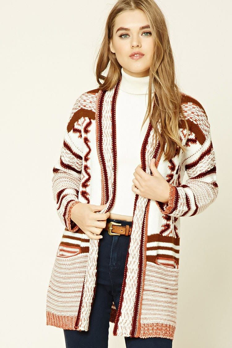 3becf9c29e A midweight ribbed knit cardigan featuring a tribal pattern