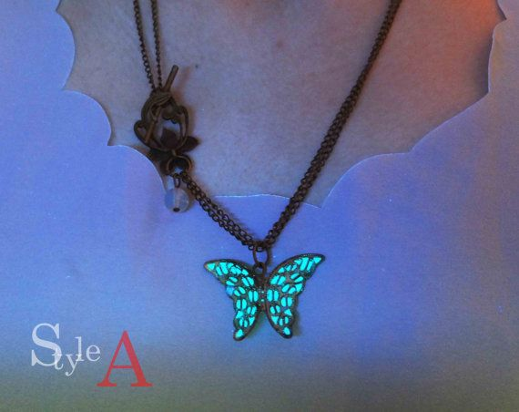 magical Forest Butterfly Gowing necklace by GlowFie on Etsy