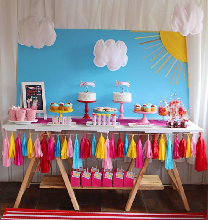 Peppa Pig Twins Party with LOTS of CUTE IDEAS via Kara s Party Ideas party  favors bridal shower. Peppa Pig Party   change the banner to fabric  add pennant banner