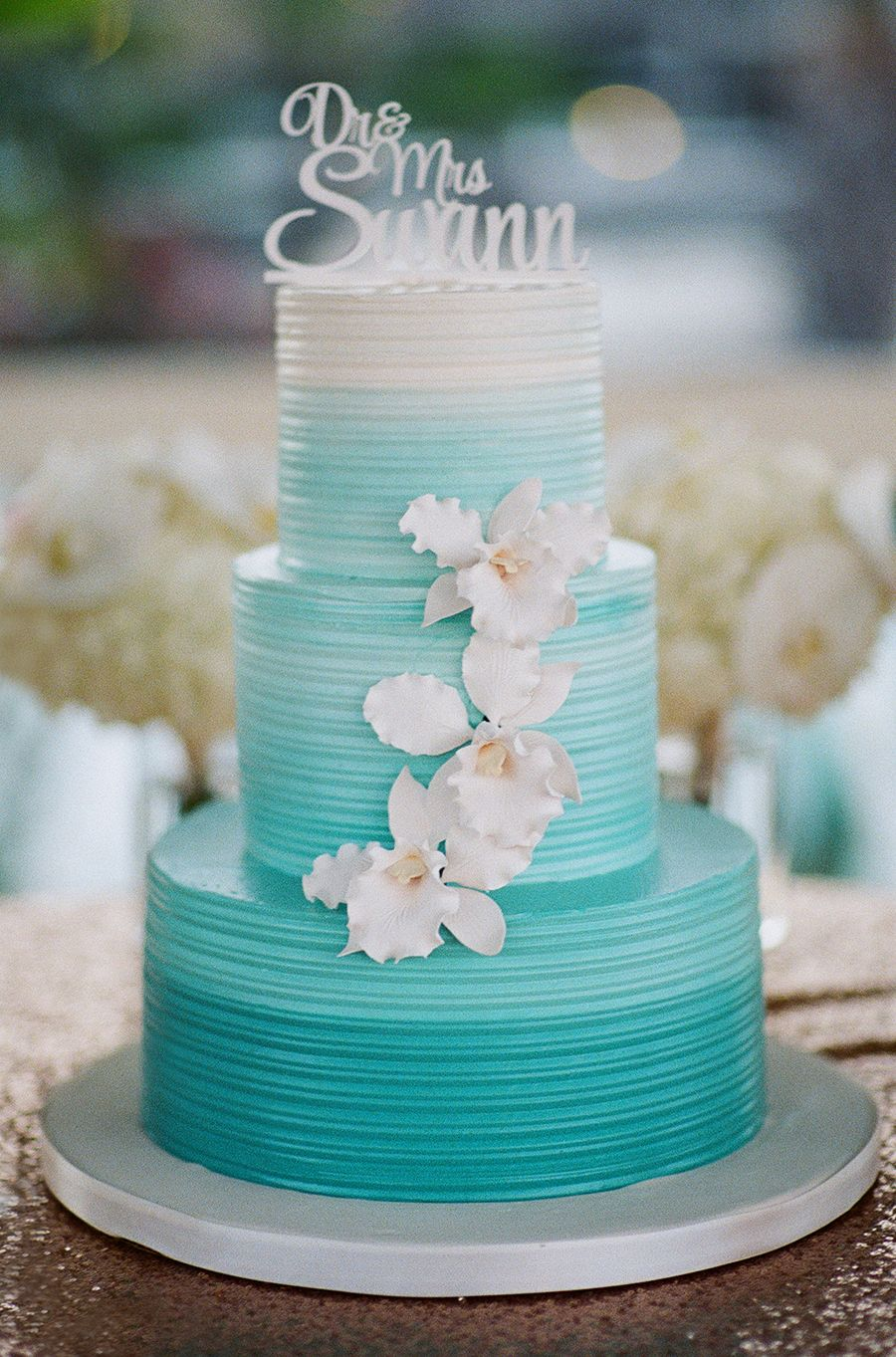 Aqua Ombre Wedding Cake With White Orchids Beach Wedding Cake