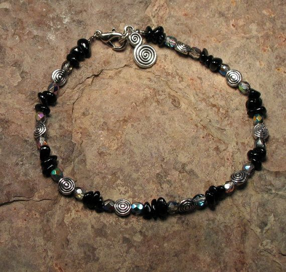Indian Black Spinel Gemstone Anklet \u2013  August Birthstone Boho Style Jewelry Healing Crystal Beaded Anklet Gift for Her