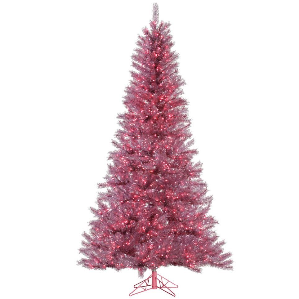10 Foot Magenta Tinsel Christmas Tree Pre Lit From Artificial Plants And Trees One Day I Will Own Pre Lit Christmas Tree Artifical Christmas Tree Tinsel Tree