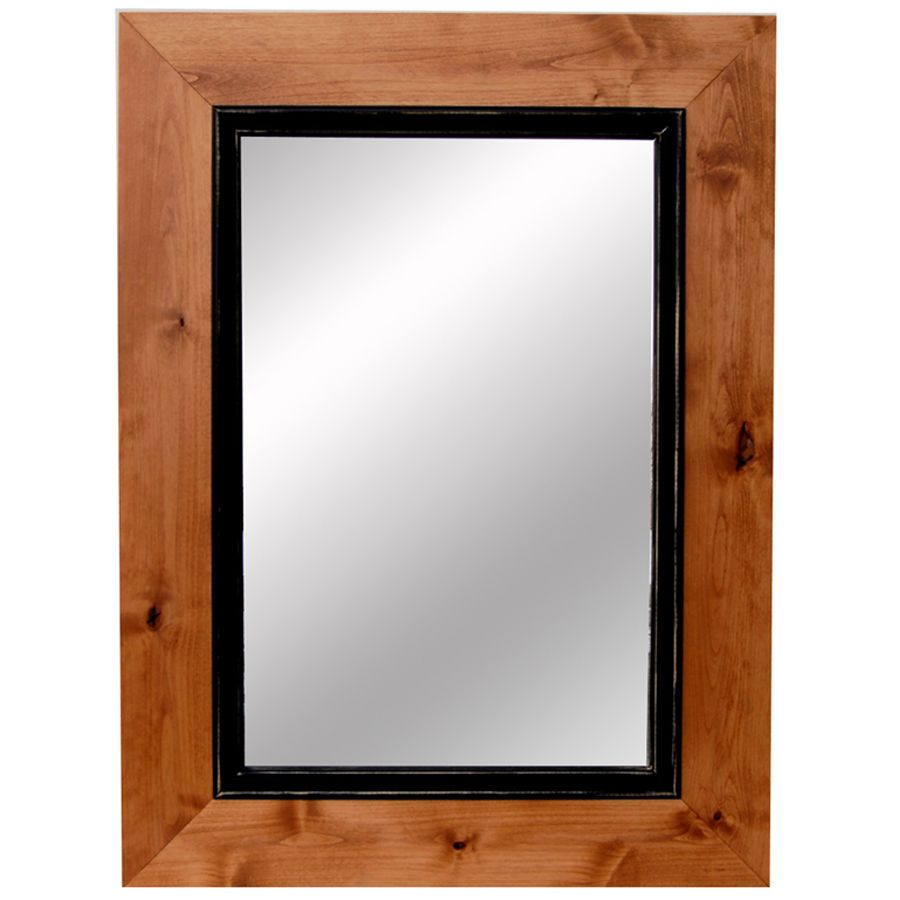 Over mantle two tone wood framed mirror 36x48 inches for Wood framed mirrors
