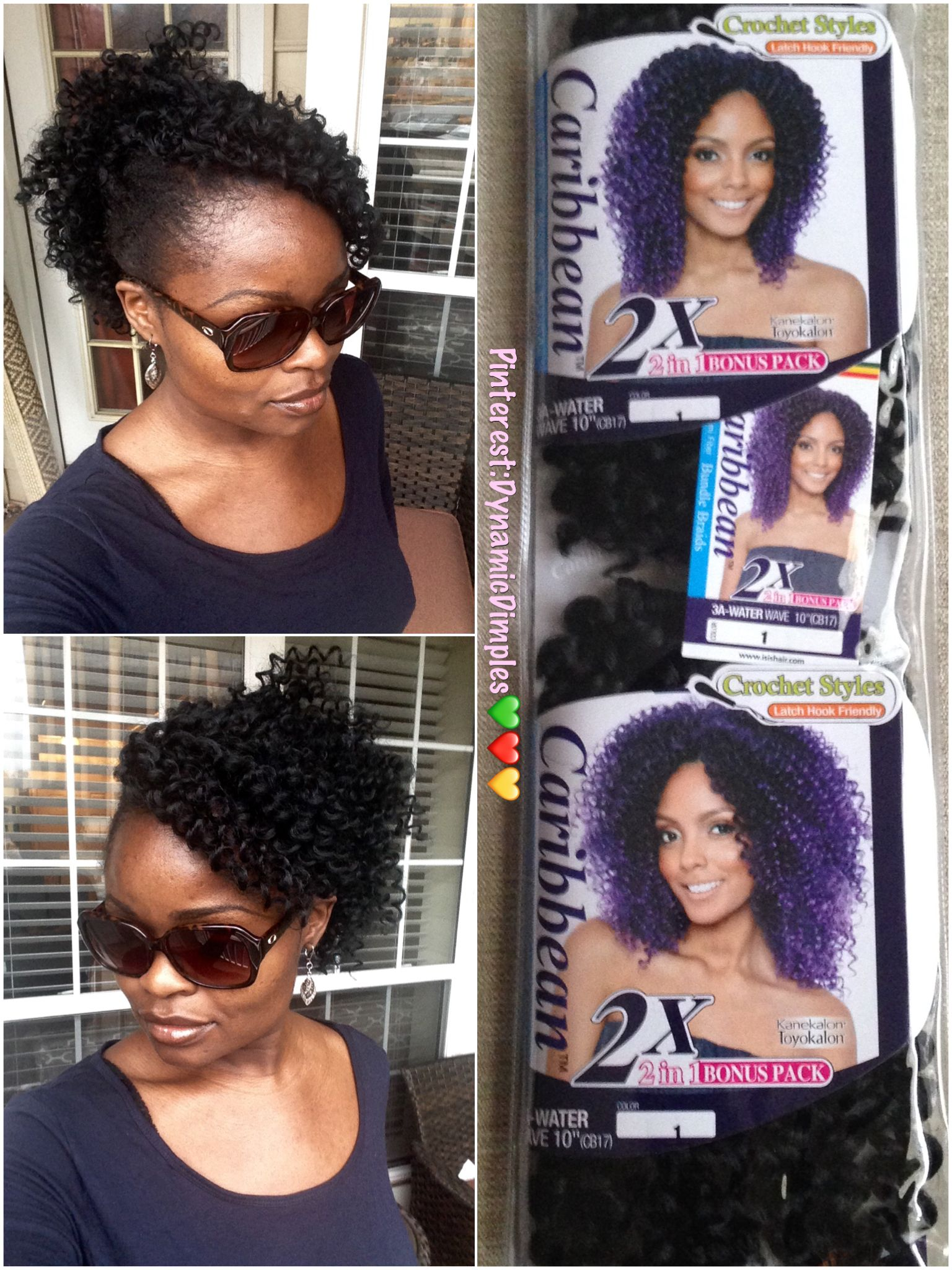 caribbean water wave. curly crochet braid updo with bangs