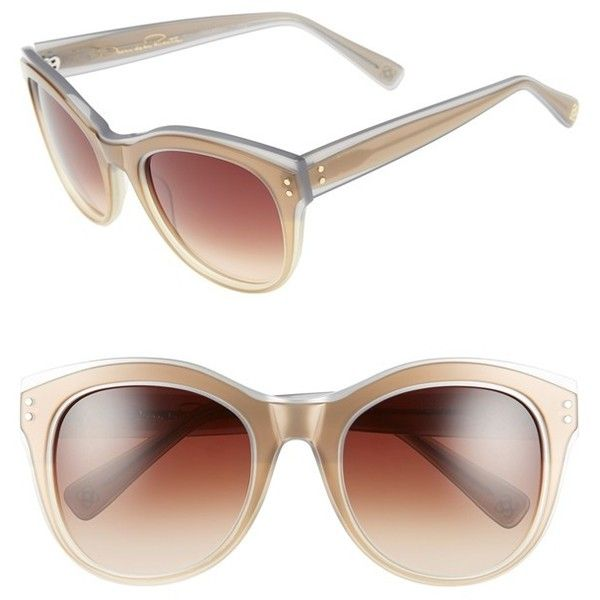 Oscar de la Renta 54mm Cat Eye Sunglasses (4.200 ARS) ❤ liked on Polyvore featuring accessories, eyewear, sunglasses, gold, oscar de la renta glasses, cat eye sunglasses, cat-eye glasses, oscar de la renta eyewear and lens glasses