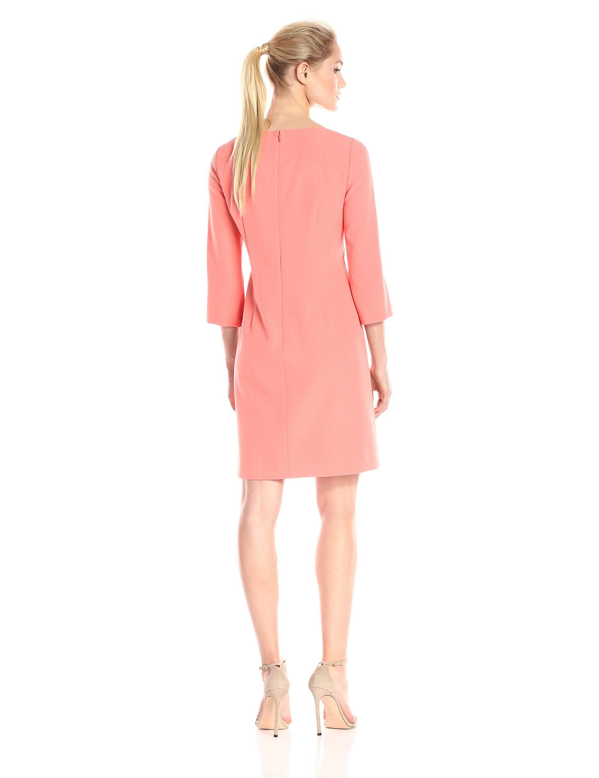 a3572b82e4 Adrianna Papell Womens Petite Three Quarter Sleeve Crepe Shift Dress Melon  12P -- Click on the image for additional details-affiliate link.   WomenDresses