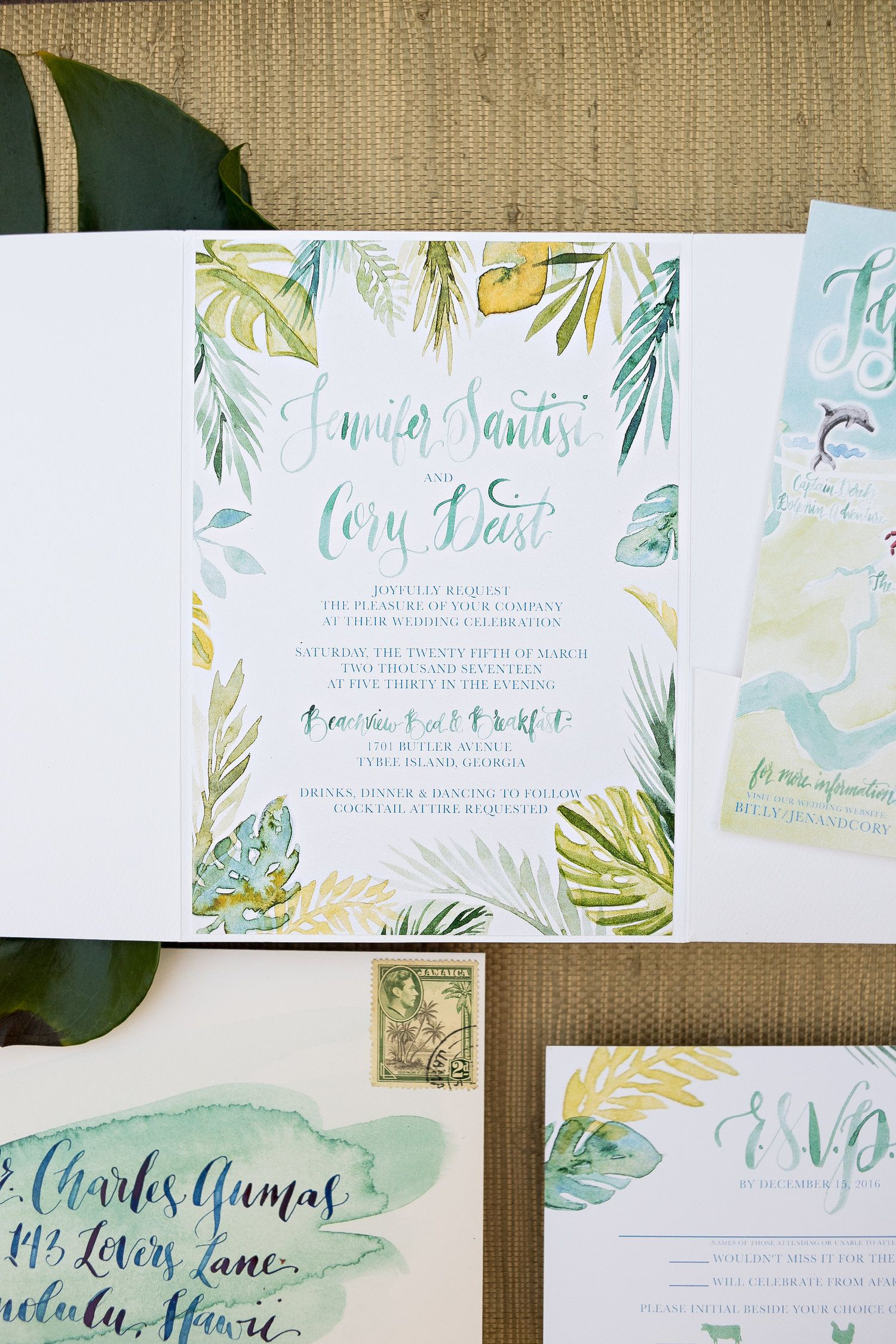 Tropical Watercolor Wedding Invitation Island Wedding Watercolor