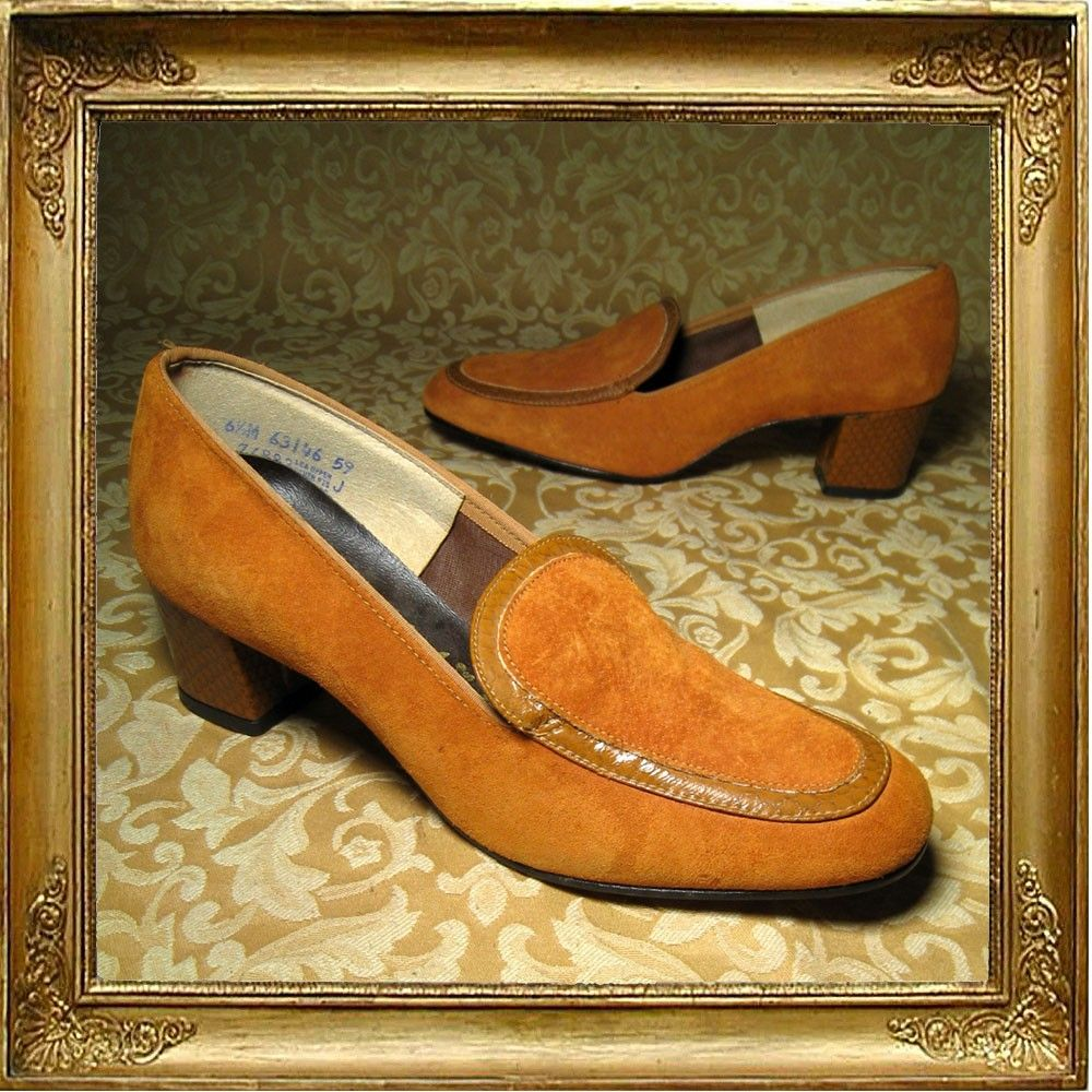 60s 70s Orange Suede Hush Puppies Loafers Faux Snakeskin Trim And