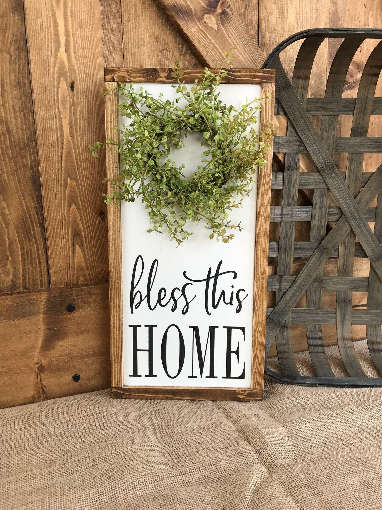 farmhouse home sign with wreath