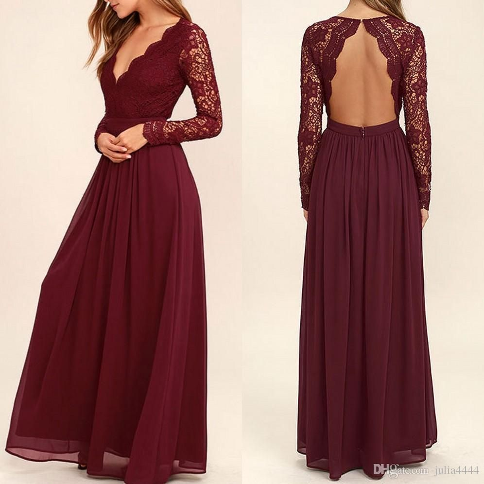 burgundy chiffon bridesmaid dresses long sleeves western