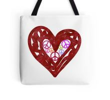 Heart Full Of Peace on White Tote Bag by #mezzilicious on @redbubble