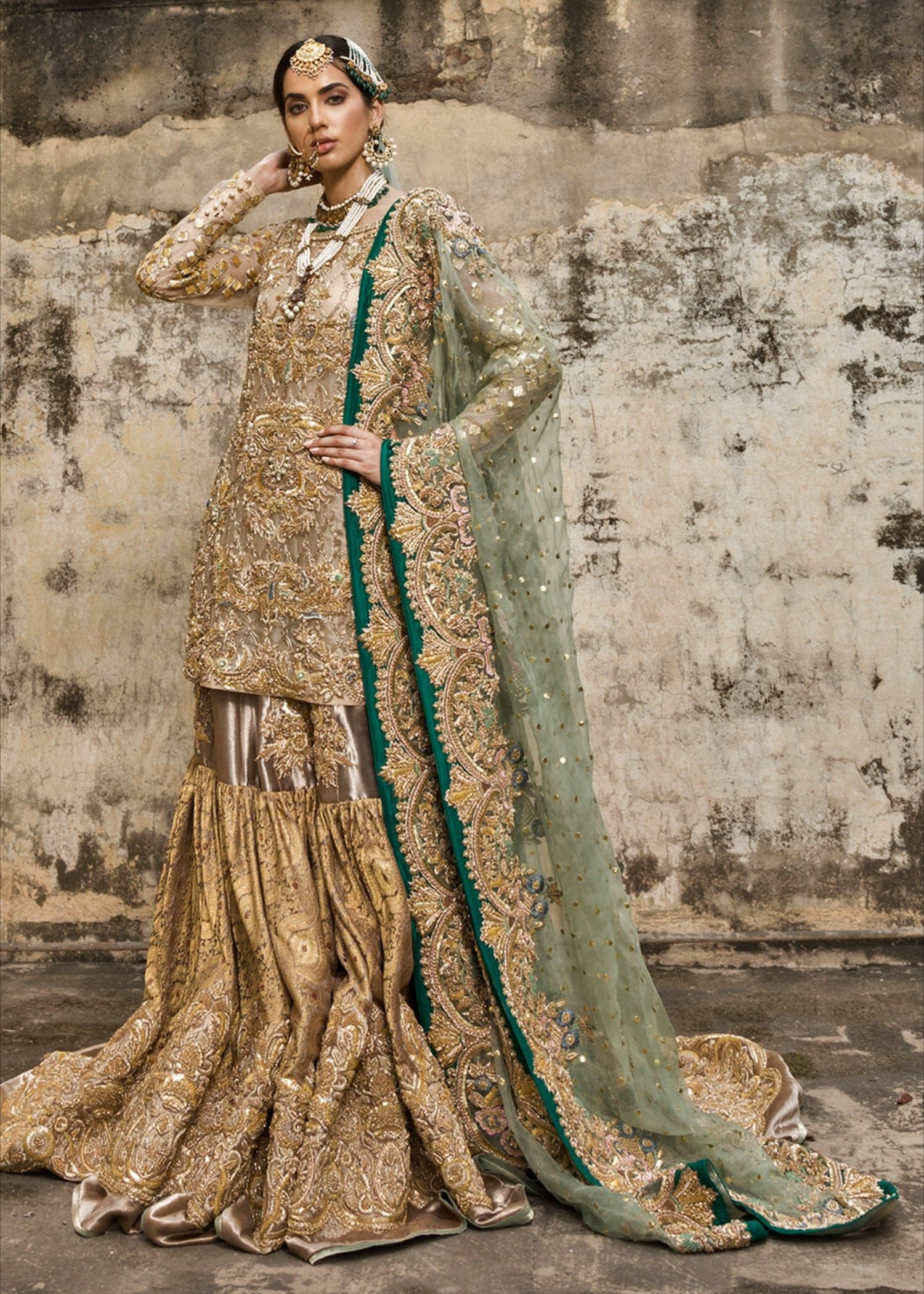 Latest embroidered gharara dress for wedding in copper