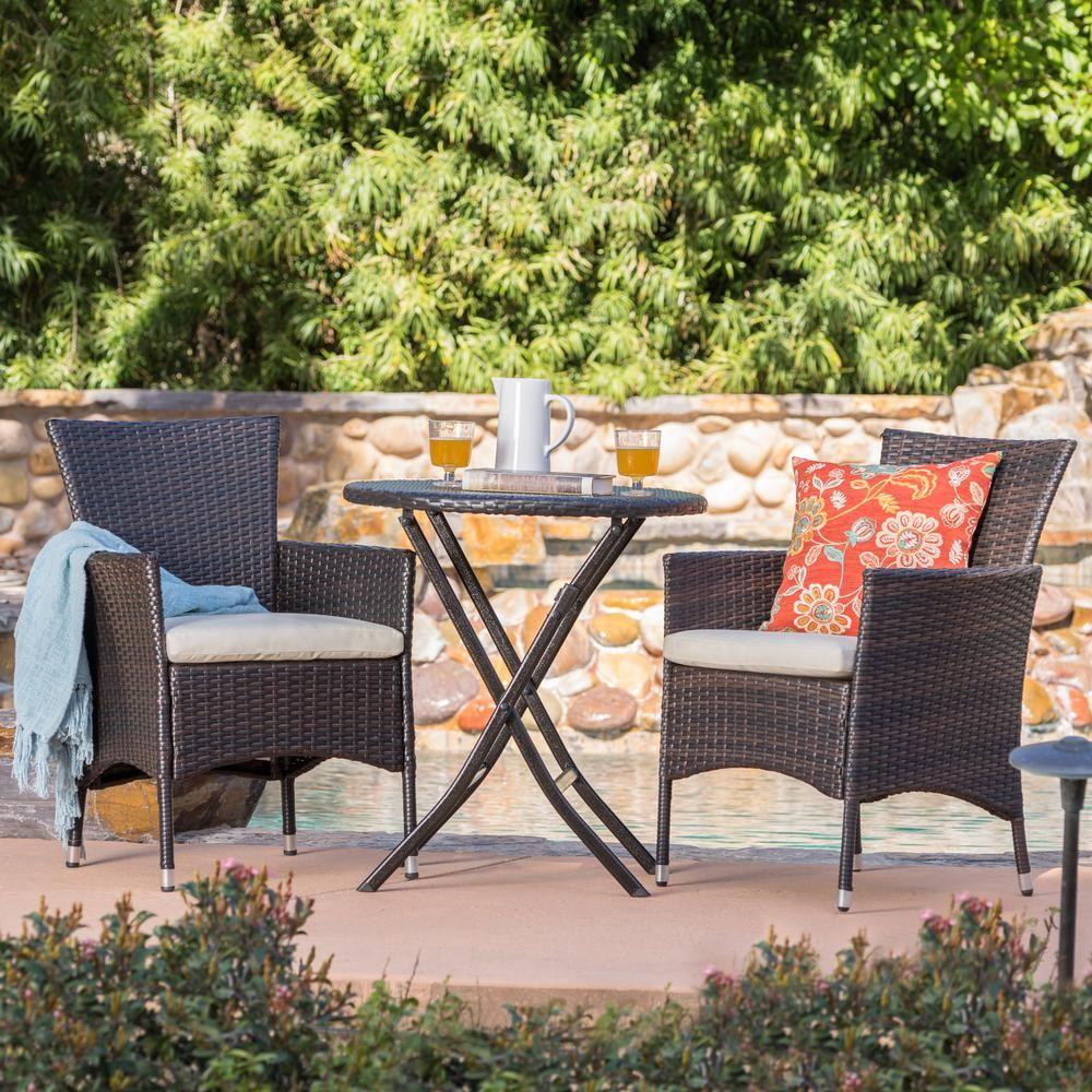 Noble House Malaga Multi Brown 3 Piece Wicker Round Outdoor Bistro