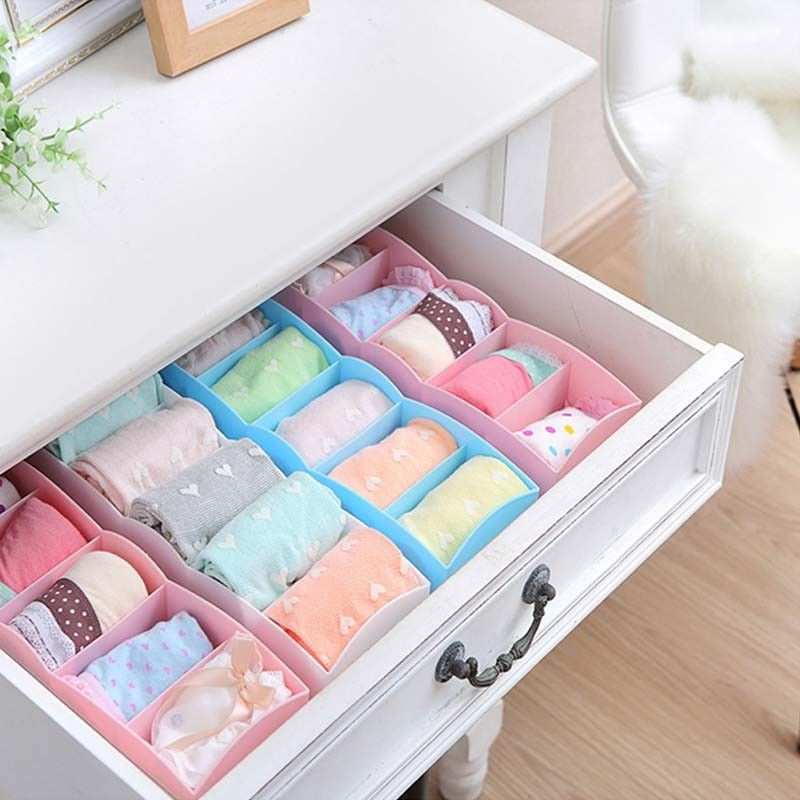 5 Cell DIY Desk Storage Divider Plastic Bra Socks Case Organizer Closet Box