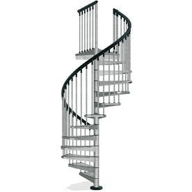 Arke Enduro 47 In X 10 Ft Gray Spiral Staircase Kit K05001 | 10 Foot Spiral Staircase | Reroute Galvanized | Lowes | Stair Kit | Winding Staircase | Staircase Kit