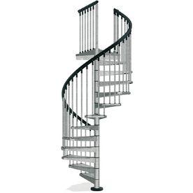 Arke Enduro 47 In X 10 Ft Gray Spiral Staircase Kit Lowes Com   Outdoor Spiral Staircase Lowes   Treads Spiral   Wood Treads   Arke Eureka   Glass Railings   Slip Stair