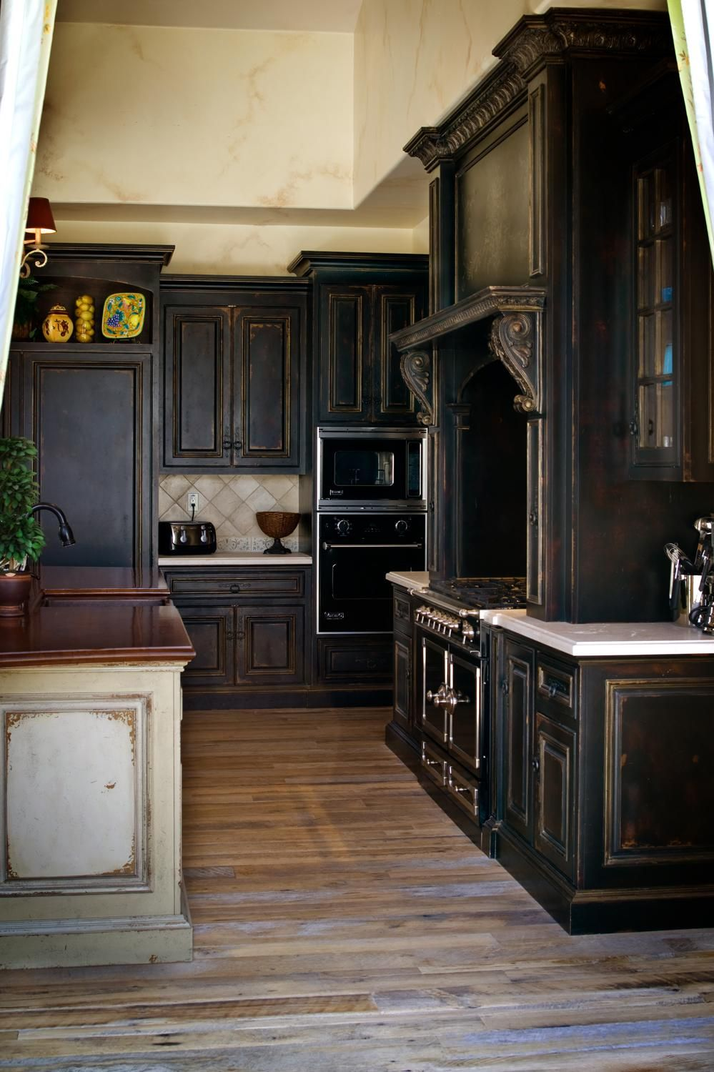 Interior Antique Black Kitchen Cabinets colored kitchen cabinets black kitchens rustic and ol cabinets