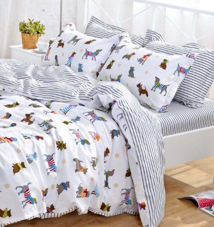 Amazon.com: YOYOMALL Cotton Cartoon Dog Bedding Set,Cute Puppy Duvet Cover  Set For Kids,Children Bedding Set,White Sheet Sets,Fitted Sheet Flat Sheet  Full ...