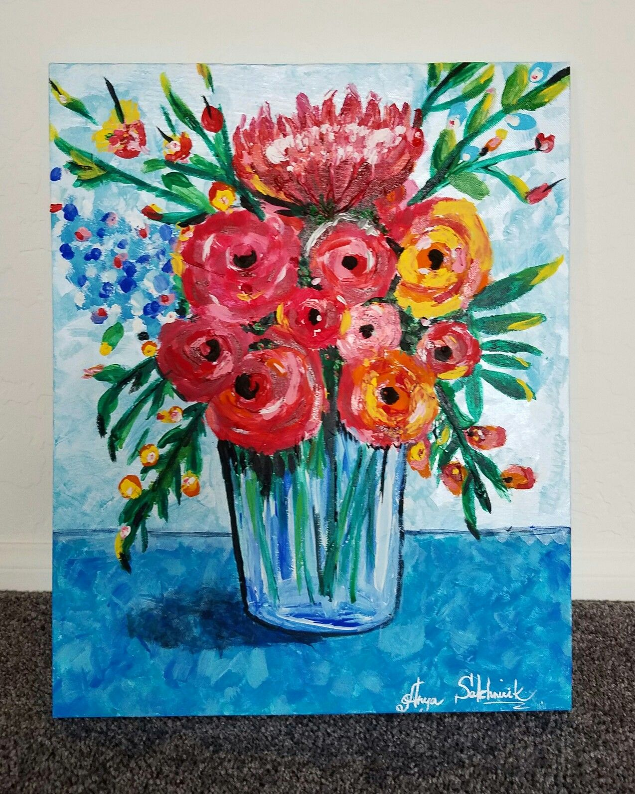Vase Of Flowers Acrylics Painting Beginner Hobby