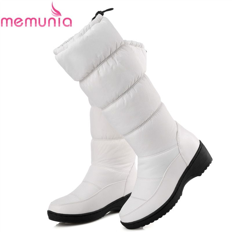 64ae7907d8f1 MEMUNIA NEW 2018 fashion warm knee high snow boots women round toe soft  leather warm down winter thick fur ladies winter shoes