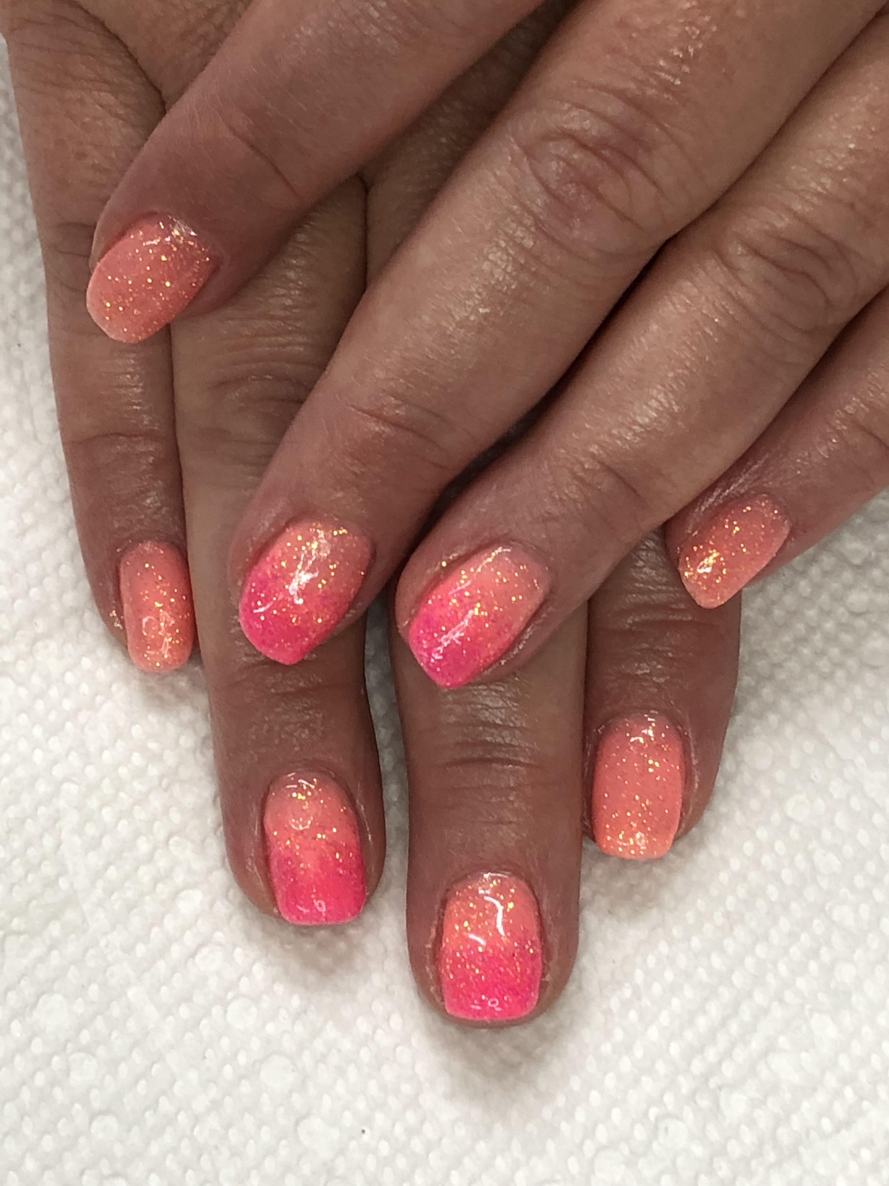 Ombre Summer Coral Pink Glitter Nails Light Elegance Orange Crush