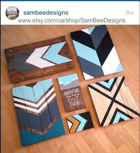 A few pieces of scrap wood, a bit of stain and some craft paint and you can create a rustic and custom-coloured scrap wood chevron art piece. -- Continue with the details at the image link. #Homediy
