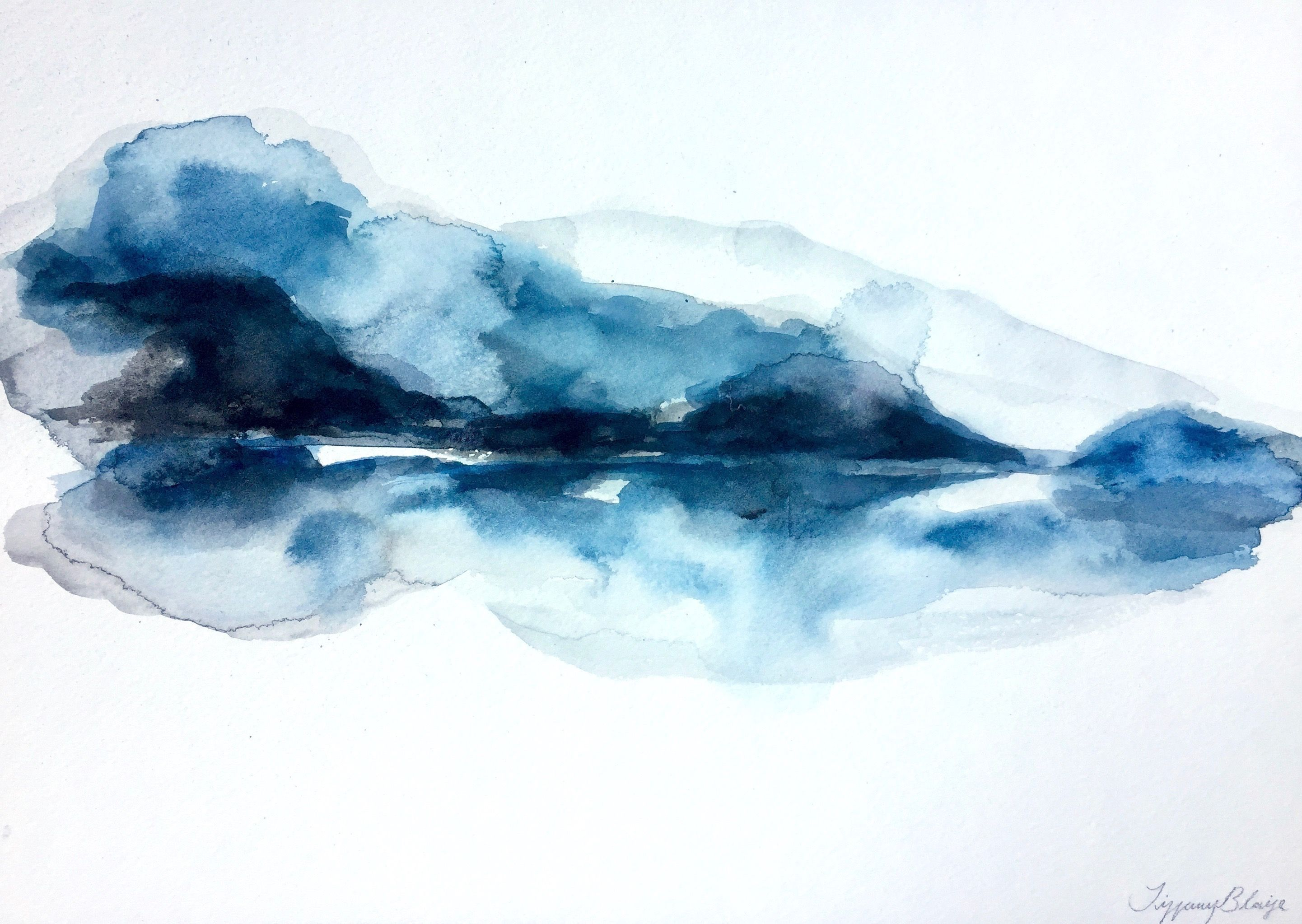 Layers Of Indigo And Black Watercolour Hues Melt Together To