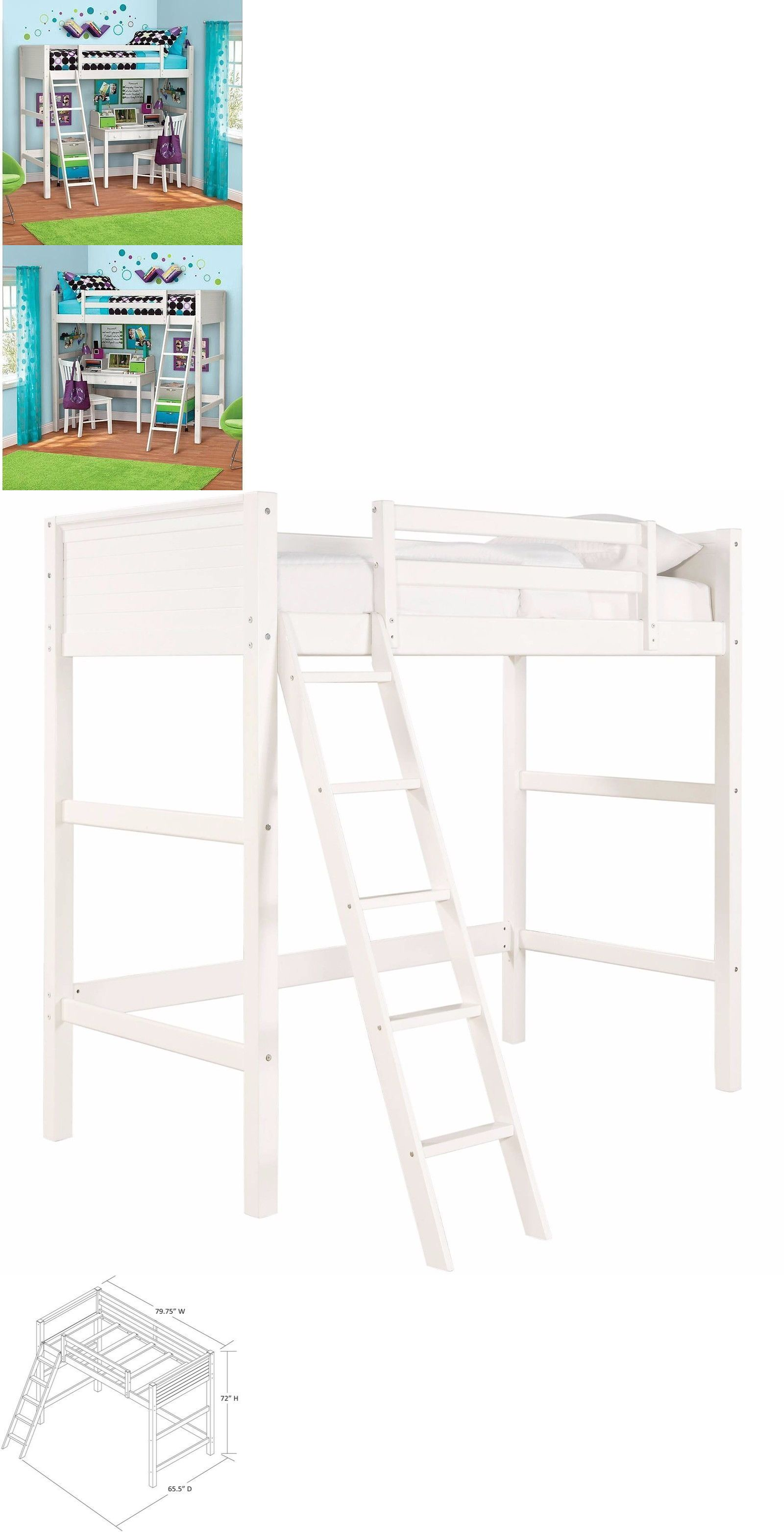 Loft captains bed twin  Bedroom Furniture  Twin Bunk Loft Bed Over Desk With Ladder