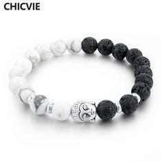 ee6aac1e49b3 Cheap Chicvie lava piedra strand pulseras y brazaletes del grano natural de buda  pulseras para las