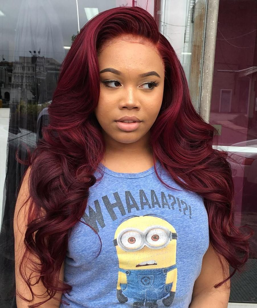 Long+Curly+Burgundy+Sew+In+Hairstyle  Hair styles, Sew in
