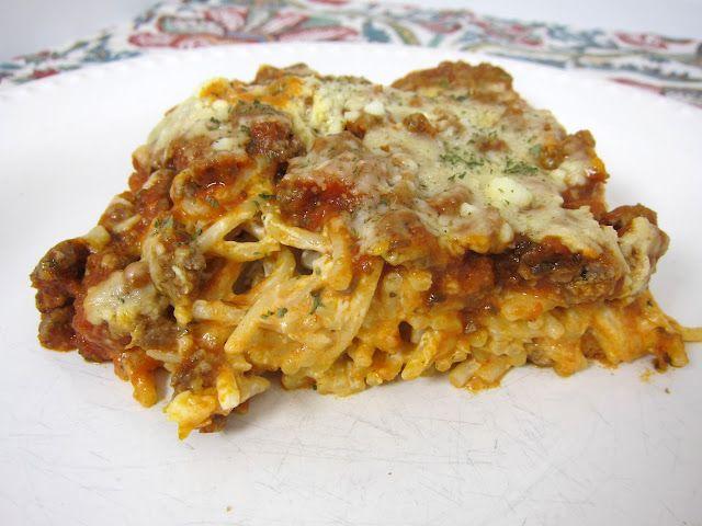 Baked Cream Cheese Spaghetti Casserole~made this~YUM! tasted btwn spaghetti and lasagna~keeper!!