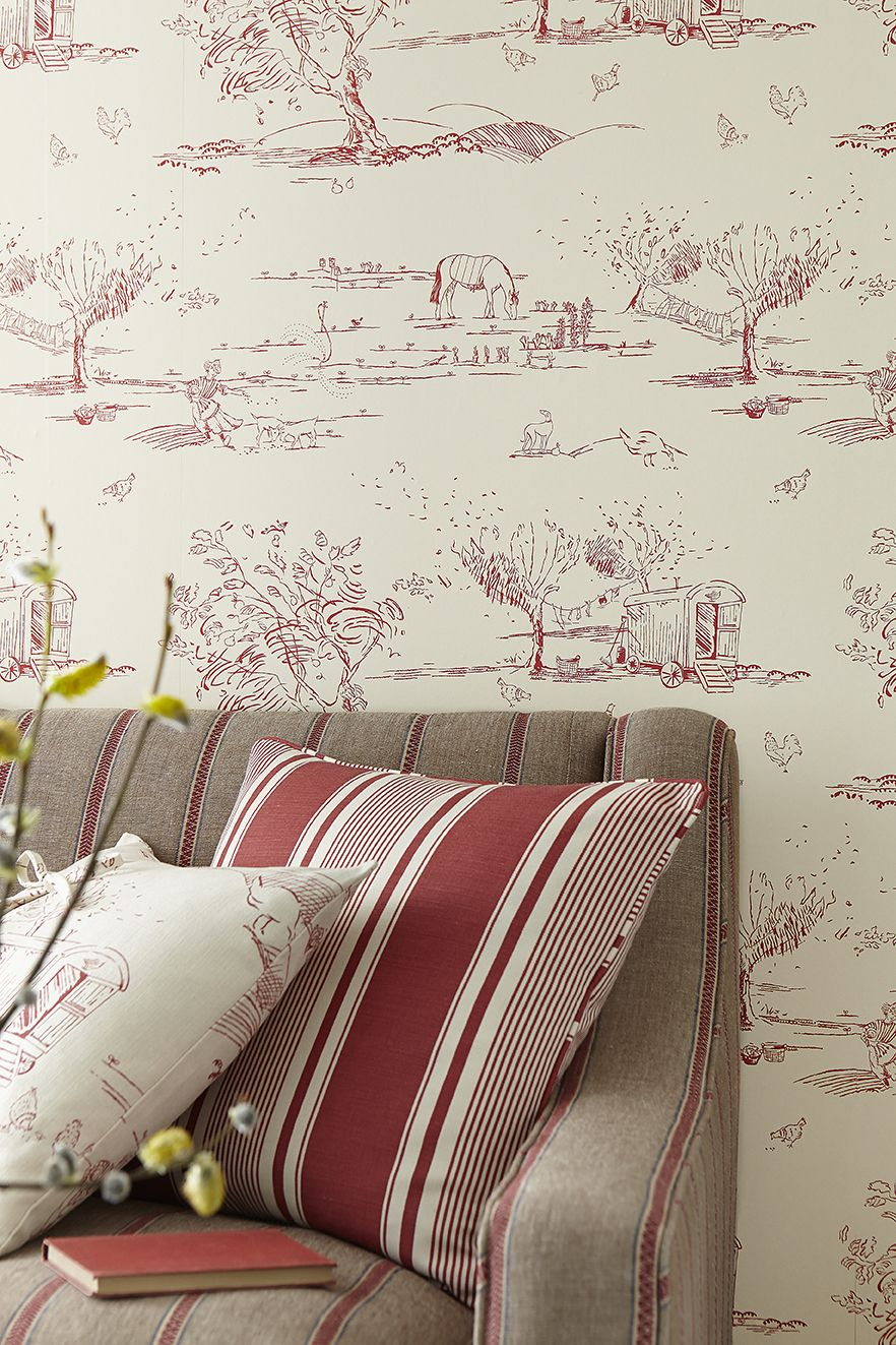 For The Love Of Rose Wall Covering Raspberry Cottage Wallpaper Bedroom Wallpaper Country Guest Room Wallpaper