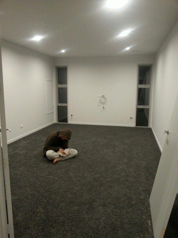 Media Room Carpet Ideas Part - 44: Media Room, Resene Half Concrete Walls And Elephant Smart Strand Carpet