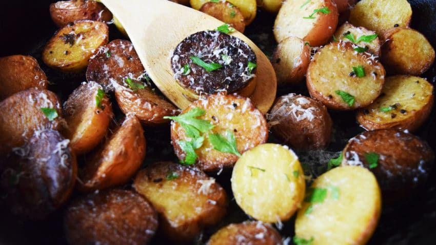 Pan Roasted Garlic and Parmesan Potatoes