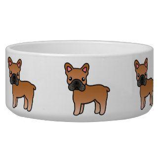 Red Cartoon French Bulldog Dog Food Bowl French Bulldog Dog Pet