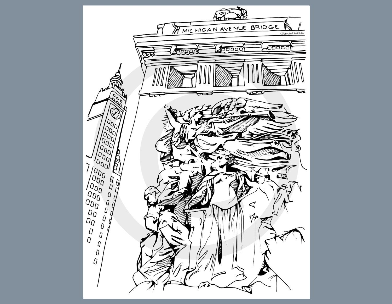 Chicago Michigan Avenue DuSable Bridge - Instant Download - Digital File - Coloring Page by Travis Clement by SproutedScribbles on Etsy https://www.etsy.com/listing/271015534/chicago-michigan-avenue-dusable-bridge