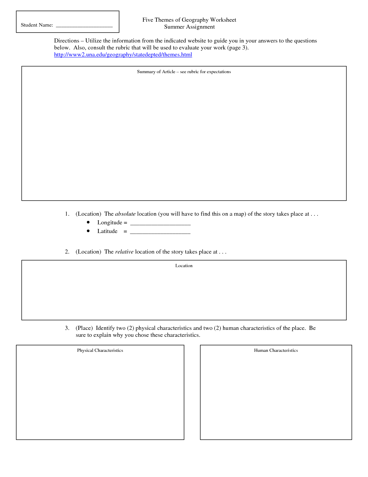 5 Themes Of Geography Worksheets