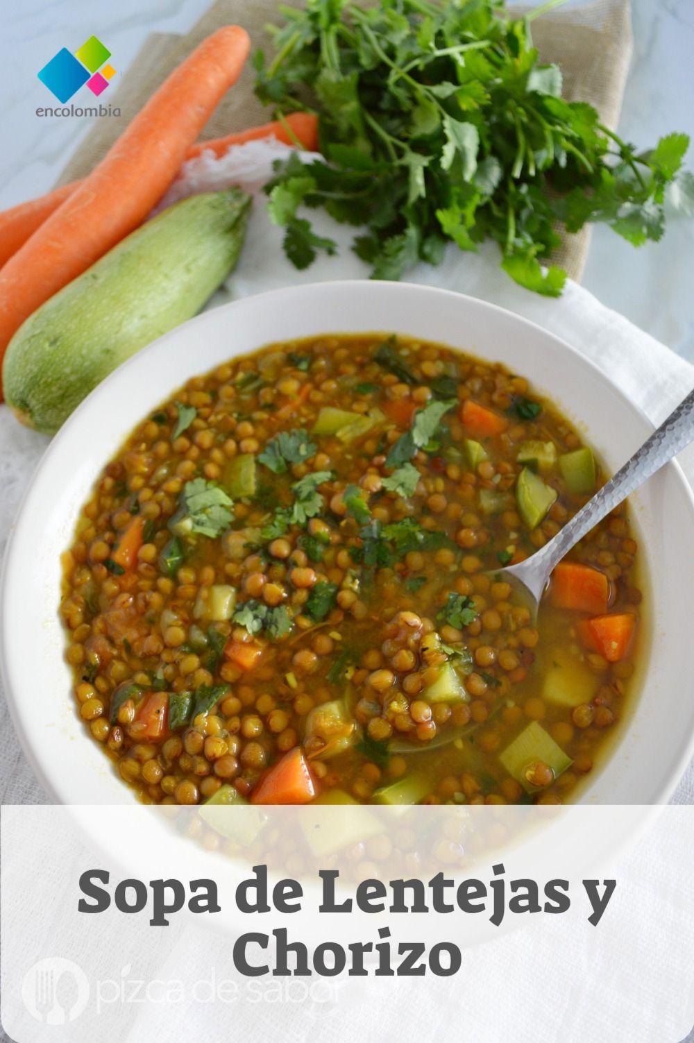 Sopa De Lentejas Y Chorizo Recetas De Sopa Recetas De Cocina Faciles Comida Recetas Vegetarianas Lentejas Con Verduras