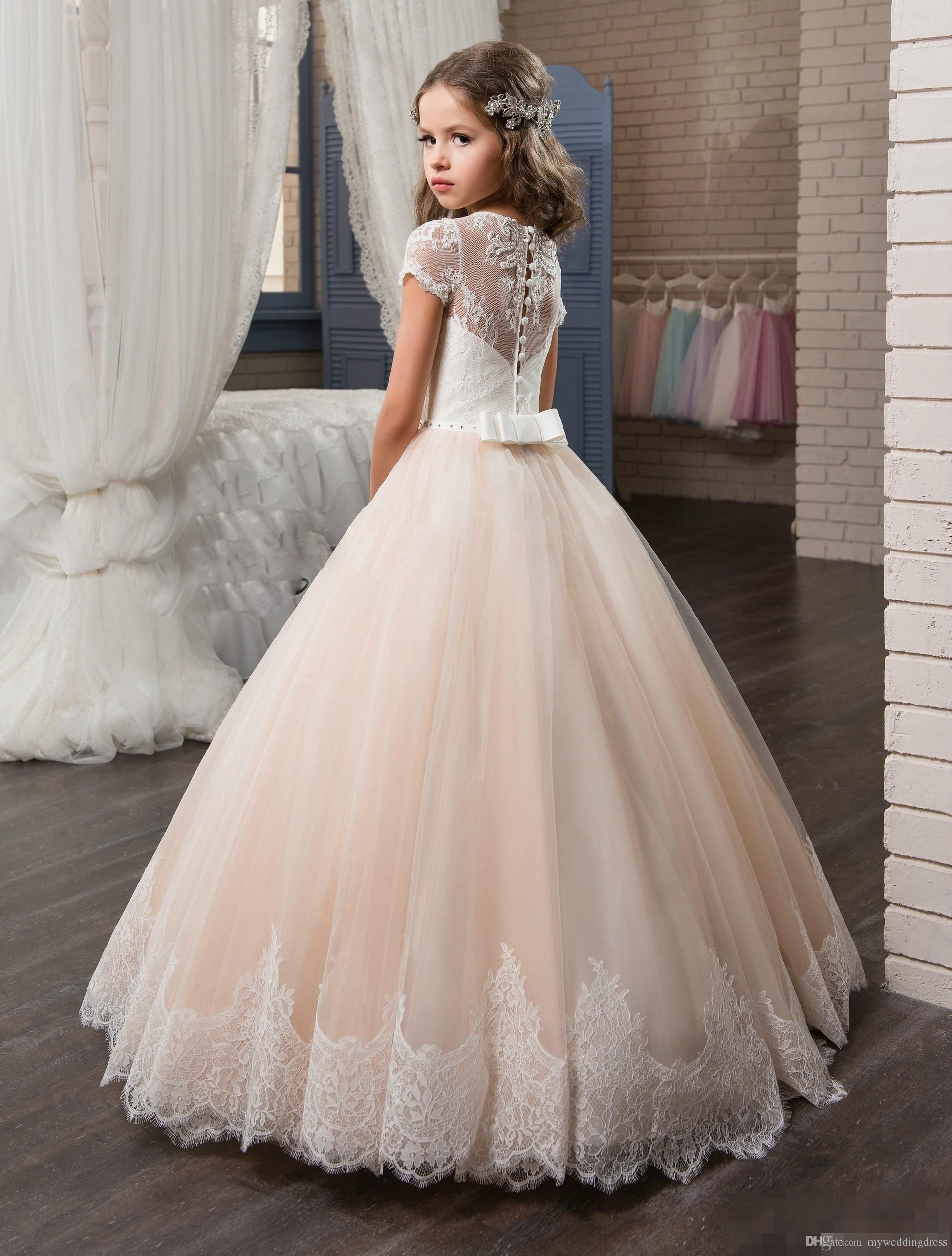Lace Flower Dresses 2017 Baby Wedding Gowns With Sleeves Jewel Neck Baptism Long Little Kids First Communion Pageant Party Dress