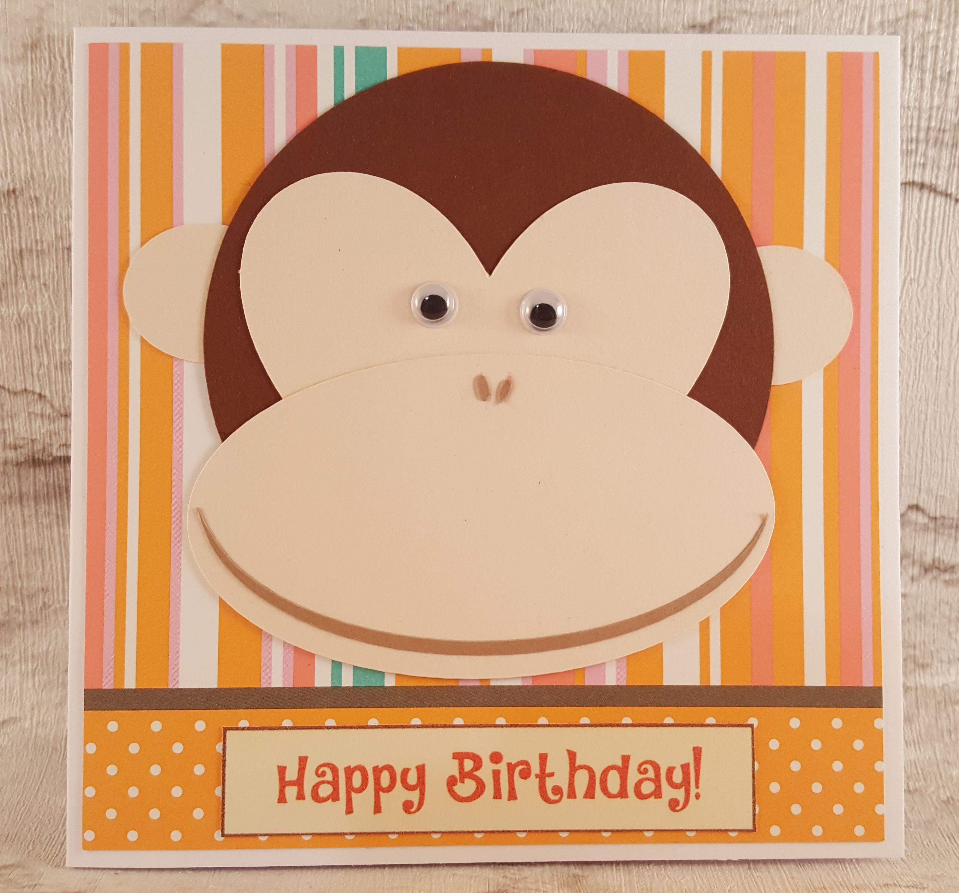 Monkey Card Birthday Card Cheeky Monkey Card Googly Eyes Fun