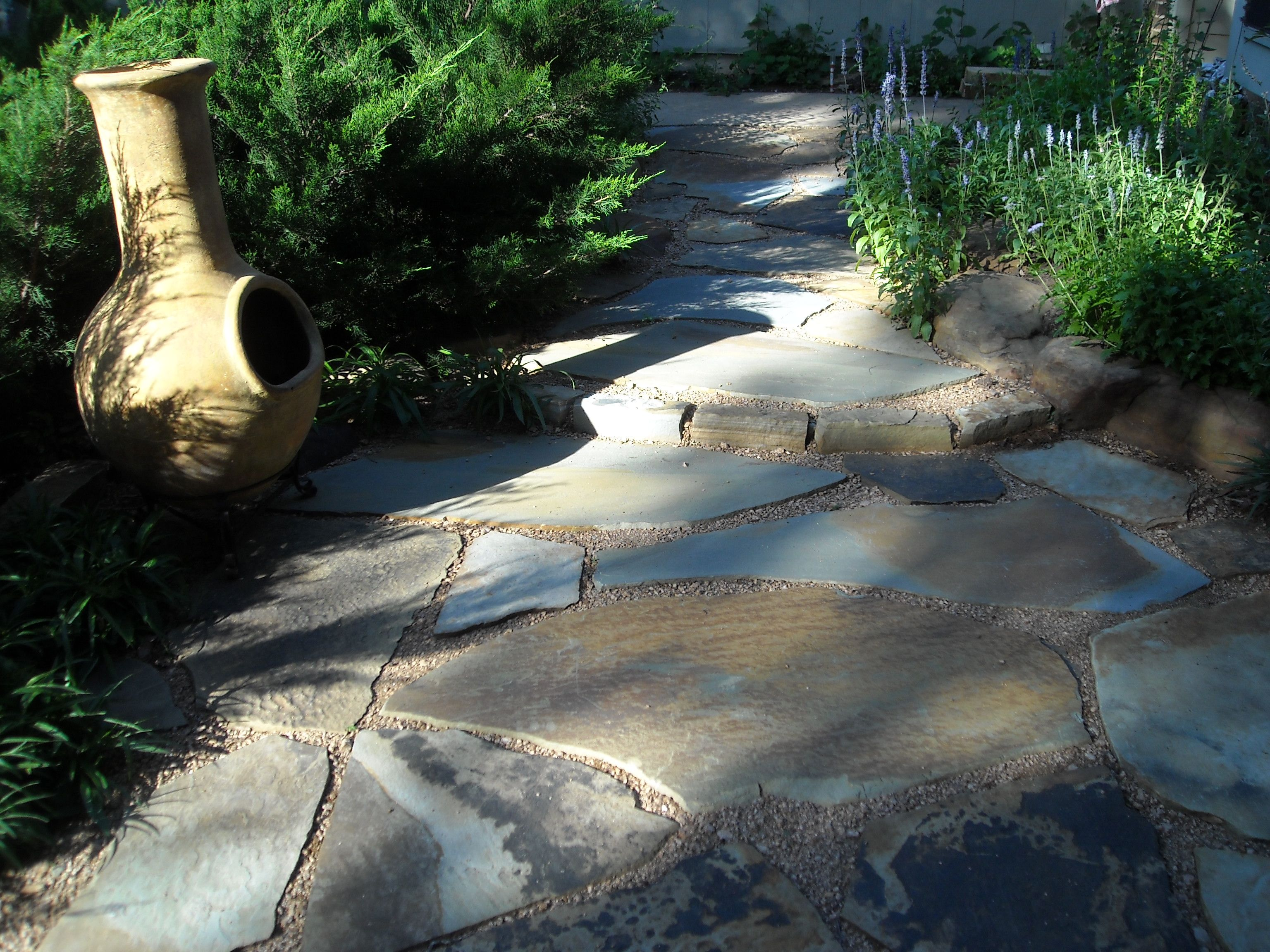 Secret Flagstone Patio Set In Decomposed Granite By The Front Door With Sea  Junipers That Created