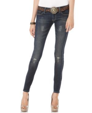 Dollhouse Jeans, Sahara Wash Belted Skinny (744199353805) Toughen up your wardrobe with a pair of lightly destroyed Dollhouse jeans in the Sarah wash. The faux leather belt really highlights your waist for sexy styling!