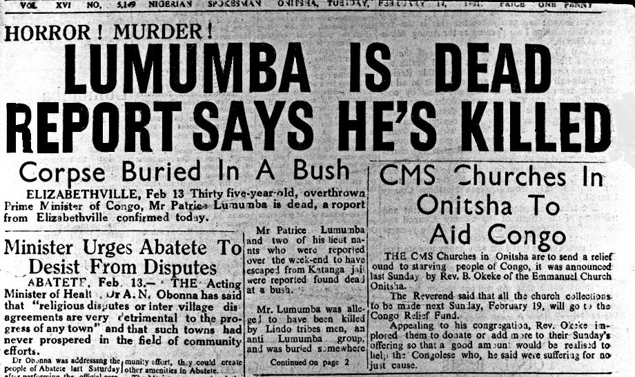 Nigerian Newspaper Report Lumumba Is Dead  Colonialism
