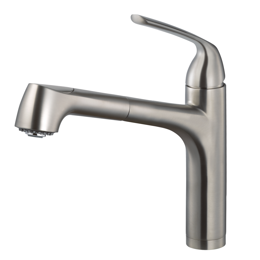Houzer calia pull out kitchen faucet brushed nickel calpobn in