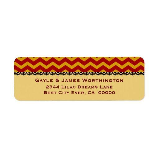 Elegant GOLD and RED Chevrons Lace Wedding V53OL Return Address Labels