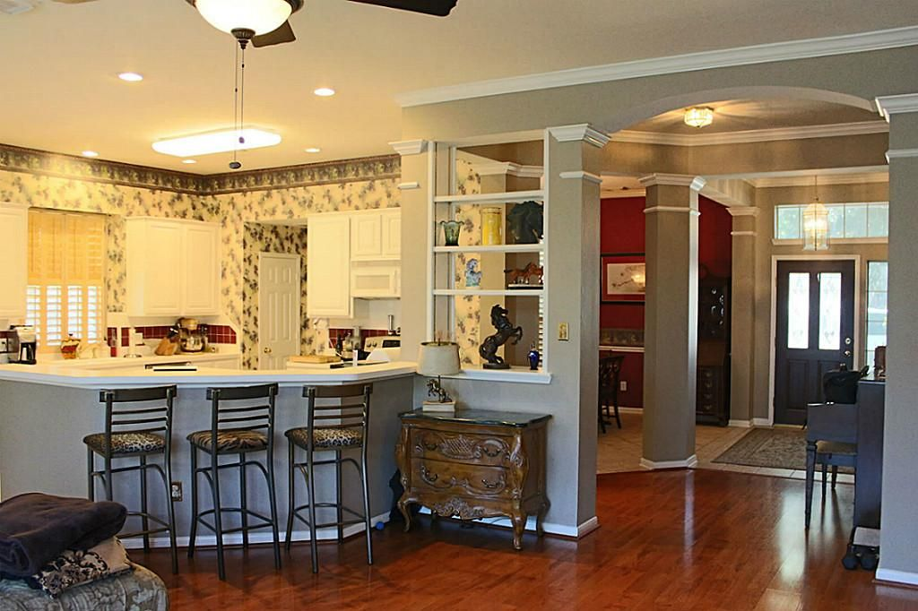 Pass through shelves with half wall | Kitchen Renovation | Pinterest ...